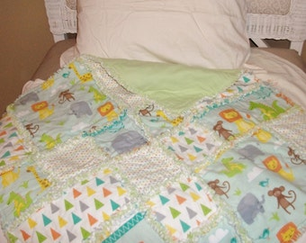 Jungle Babies Rag Quilt Baby Blanket