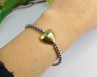 Gold & Silver Heart Bracelet, Stainless Steel Jewellery, Delicate Bracelet, Gifts For Her, Gifts for Mum, Heart Bracelet, Anniversary Gift