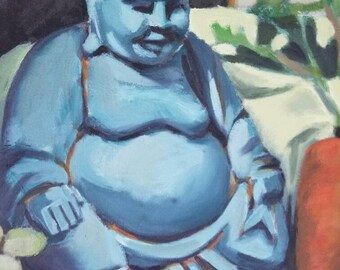 Offering to a Fat man original oil painting 25.25 inches x 19.25 inches framed blue Buddha fruit and vegetables still life