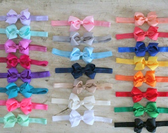 Baby Bow Headbands OR Hair Bow Clips - Choose Colors and Quantity - White Pink Black Coral Gray Navy Red - Baby Headband, Newborn Headband