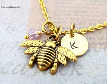 Bee Charm Necklace, Personalized Antique Gold Hand Stamped Initial Birthstone Monogram  Bee Charm Necklace