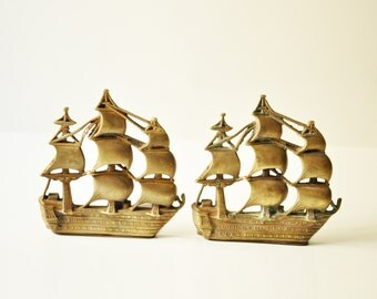 Vintage Nautical Bookends - Brass Ships Book Ends