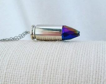 Crystal bullet necklace - bullet necklace - bullet casing - upcycled jewelry - bullet jewelry - bullet pendant - crystal bullet - industrial