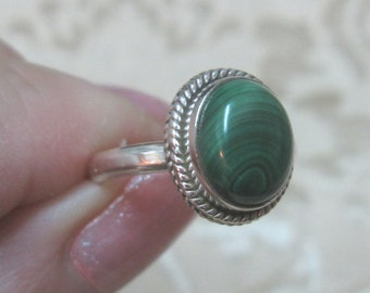Malachite Sterling Silver Ring Size 8