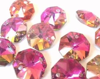 12 Metallic Rose Rainbow Chandelier Crystal Beads Octagon Shabby Chic Prisms 14mm