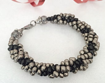 Silver and Black Glass Bracelet Woven by Hand Jewelry Glass Seed Bead Jewelry
