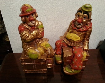 1972 Progressive Art Products chalkware Clown Bookends
