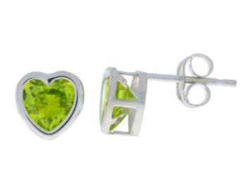 Peridot Heart Bezel Stud Earrings .925 Sterling Silver