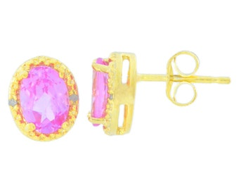 14Kt Yellow Gold Plated Pink Sapphire & Diamond Oval Stud Earrings