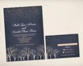 Wedding Invitation, Starry Night, Twig Tree Invitation, Modern Vintage, Midnight Blue Invite, DIY Printable, Budget Invitation Prints (WI29)