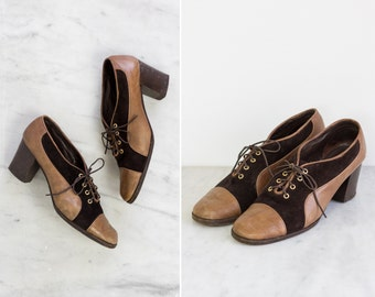 vintage 1960s leather oxford heels | brown 60s womens oxford shoes