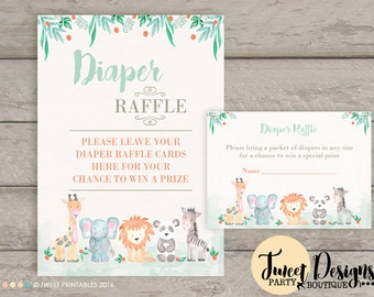 Diaper Card, Printable Diaper Raffle Ticket, Baby Shower, Watercolor Jungle Animals Diaper Raffle Card, Safari Animals Printable