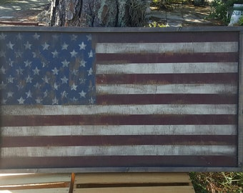 Vintage look Distressed wood framed American Flag Wall decor/Patriotic/Americana/Red White Blue