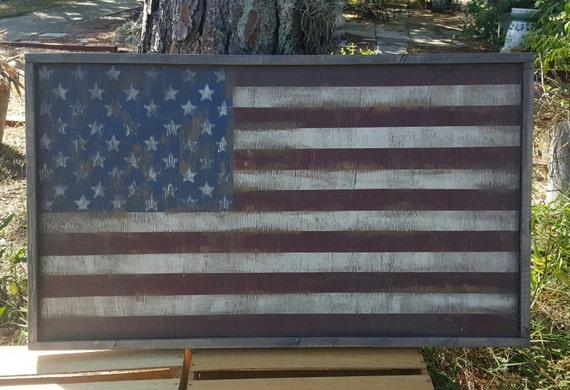 Vintage Look Distressed Wood Framed American Flag Wall