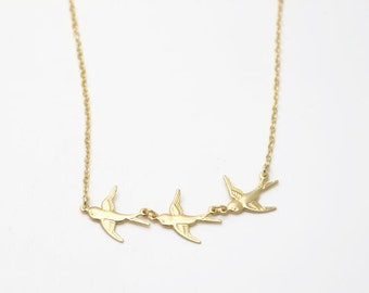 2 pcs of brass chain with three bird linked matte gold color-three bird linked