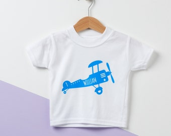Retro Airplane Personalised Baby T Shirt