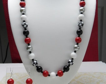 Alabama Houndstooth necklace with earrings  H1201