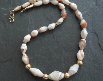 Ancient Agate and Gold Vermeil Necklace