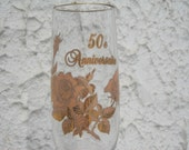 50e ANNIVERSAIRE of WEDDING pair of Champagne glasses w. gold accent & ROSE design by Banawe!