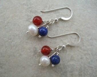 Fun Triple Stone Earrings on Sterling Silver Hooks, Drop Dangle Earrings, Sterling Silver Hooks, Jewelry, UK Seller