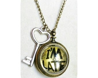 "Alice in wonderland "" I'M LATE"" white rabbit  charm ecklace"