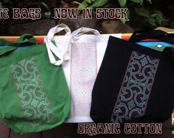 Organic Tote Bag , boho,shipibo , gift for her ,Organic Cotton , recycled , festival bag , shopping bag ,  tribal bag ,