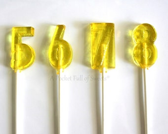 6th Birthday Party Favors, Number Party Favors, Number 6 Lollipops, Table Numbers, Number SIX, Turning 6, Set of 12 Barley Sugar Lollipops
