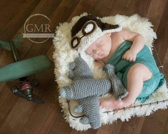 Aviator Photo Prop Set, Baby Aviator Hat, Baby Plane Plush, Crochet Plane, Crochet Aviator Hat, Unique Baby Gift, Aviation Baby Nursery