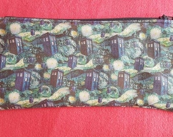 Doctor Who inspired Starry Night zipped pouch