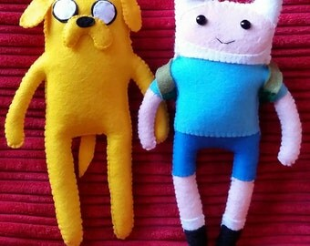 Jake the dog and Finn the human Adventure Time inspired felt plushie plush