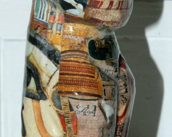 HAND CRAFTED/DECORATED Egyptian Cat Decoupage - Ornament. One Of A Kind - Unique Gift