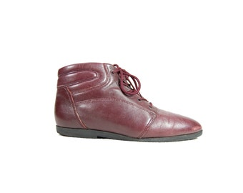 Size 8 Maroon Leather Danexx Sneaker Boots // Maroon Leather Lace Up Ankle Boots // G429