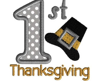 1st Thanksgiving Embroidery design, holiday  applique, 2 sizes, machine embroidery instant download