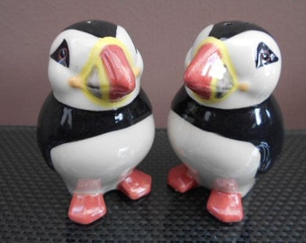 Puffin Salt and Pepper Shakers Hand Painted Smooth Puffin Bird Salt and Pepper
