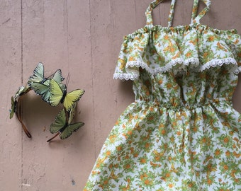 Sale!!!!   Butterfly Flower Romper/Girls Romper/Vintage Romper/70s Romper