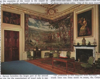 Vintage Postcard England Blenheim Palace The Green Writing Room Great Britain Blank Unused FREE SHIPPING USA