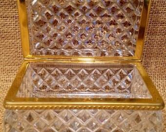 Cut crystal & gold metal trinket box
