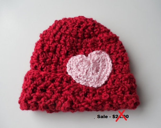 Red Baby Beanie with heart - Baby Beanie - Baby Girl Beanie Hat - Handmade Crochet - Clearance - Reduced - Ready to Ship