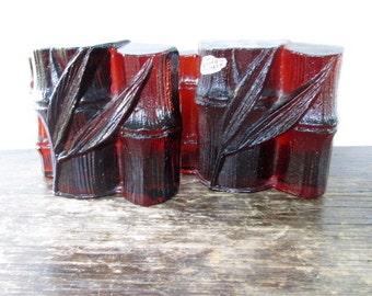 Blenko Amber Glass Bamboo Bookends