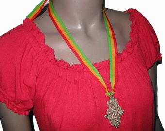 Ethiopian Coptic Cross Necklace w/ Rasta Ribbon : Ethiopia Crosses