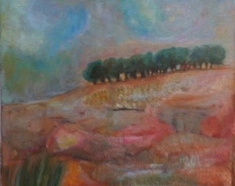 "Special Price!!! , Landscape , 25 X 25 cm, 10"" x 10"", Original oil Painting stretched on canvas & Ready to Hang.."