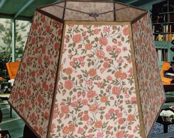 Vintage Lampshade-Cloth Lampshade Orange Floral Design Five Sided-50's Vintage Shade Table Lamp Lighting Home Decor Shabby Chic Lamp Shade
