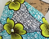 African Wax Print Fabric--Java Print Fabric--Turquoise Blue and Gray with Giant Kiwi Green Flowers--African Fabric by the HALF YARD