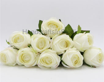Single Silk Flower Ivory Roses Wedding Decorative Flowers For Bridal Bouquets Wedding Table Centerpieces