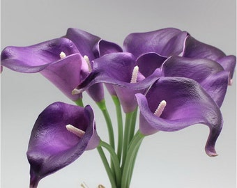 Wedding Flower Dark Purple Calla Lily Bouquet 10 stems Real Touch Calla Lilies Latex Flowers For Wedding Bouquet Table Centerpieces