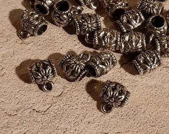 25 pc Tibet Silver Plated Flower Connection Bead/Bail - F-043