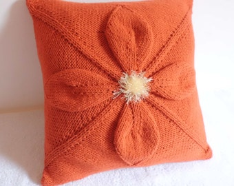 Coral Knit Pillow Case Flower, Throw Pillow, Tangerine Knitted Pillow Cover, Hand Knit Cushion Cover, 16x16 Decorative Pillow