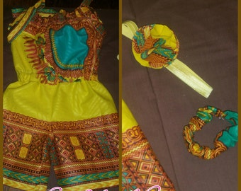 Child Dashiki Romper with headband and fabric bracelet