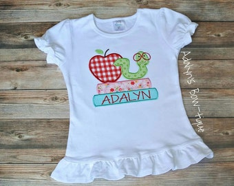 Girly book worm back to school personalized applique girls shirt