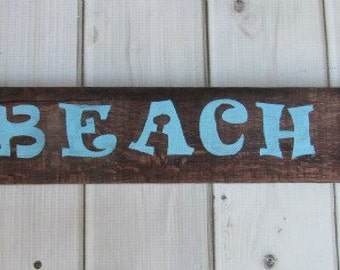 Reclaimed Pallet Barn Wood Sign BEACH Lake House Pool Ocean Blue Baby Room Nursery Wall Art Decor Nautical Rustic Hand Painted